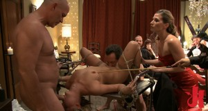 Submissive blonde has her pussy eaten while she is tied up and sucks a big cock