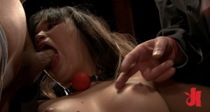 Submissive Asian slut gets her throat fucked while having her nipples fondled with